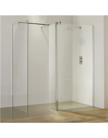 Frontline Aquaglass Purity Straight Walk-In 600mm Front Panel (with return panel and bar)