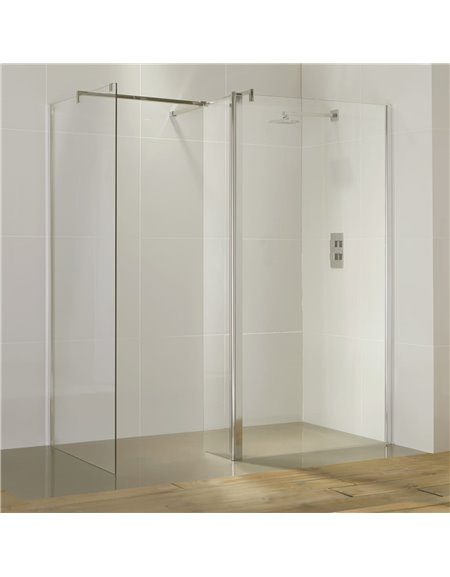 Frontline Aquaglass Purity Straight Walk-In 900mm Front Panel (with return panel and bar)