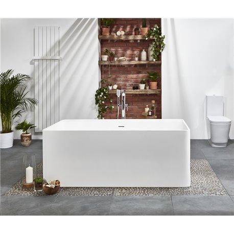 Frontline Aquanatural Cabanes 1700 x 800mm Square Stone Resin Freestanding Bath
