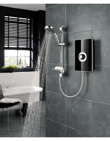 Aspirante Minimalist 8.5kW Electric Shower with Central Control - Black Gloss