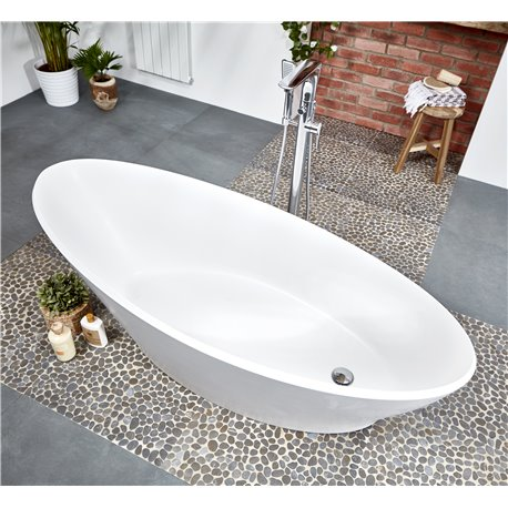 Frontline Aquanatural Sleek 1700 x 700mm Elliptical Stone Resin Freestanding Bath