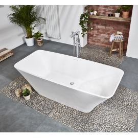 Frontline Aquanatural Elite 1800 x 800mm Square Stone Resin Freestanding Bath