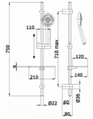 Athena Slide Rail Shower Kit with 6 Function Hand Shower