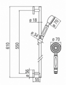 Traditional Slide Rail Shower Kit with Hose & Elbow