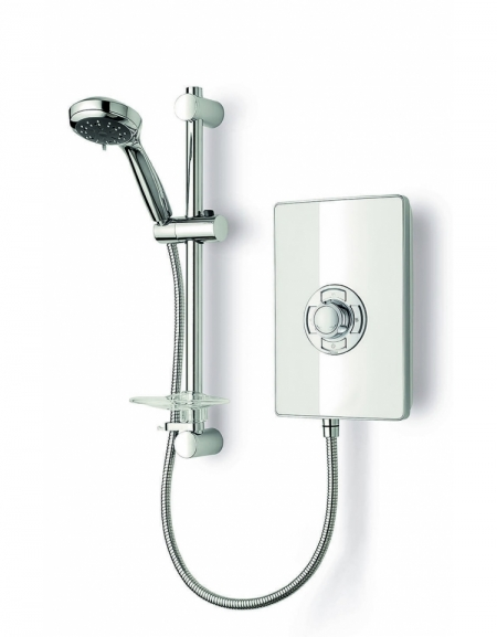 Aspirante Minimalist 9.5kW Electric Shower with Central Control - White Gloss