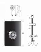Aspirante Minimalist 9.5kW Electric Shower with Central Control - Gun Metal