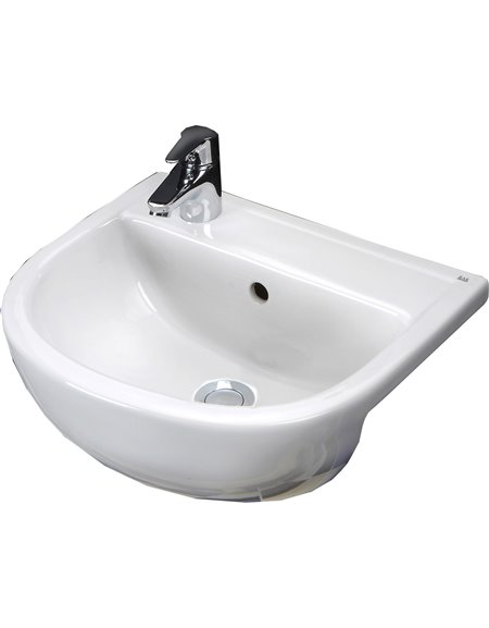 Left Hand RAK Compact Slimline 400mm Semi-Recessed Basin