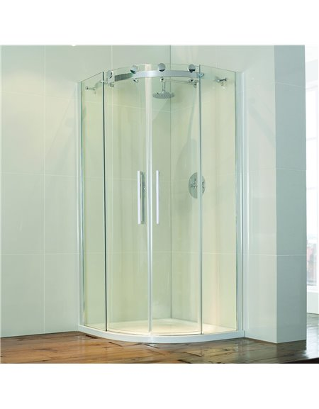 Frontline Aquaglass+ Frameless 1000 x 800mm 2 Door Offset Quadrant Enclosure